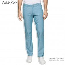 Брюки летние Calvin Klein Slim Fit 5 Pocket Stretch Slub синие