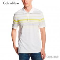 Поло мужское Calvin Klein Engineered Stripe Pique Polo белое