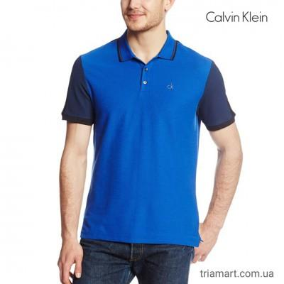 Мужское синее поло CALVIN KLEIN COLOR BLOCKED RIB