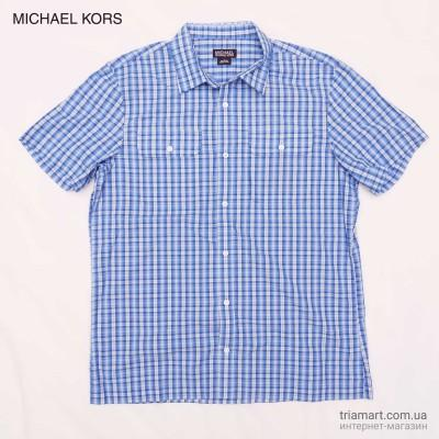 Мужская синяя рубашка MICHAEL KORS PLAID BUTTON