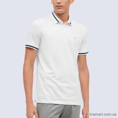Мужское белое поло CALVIN KLEIN LIQUID COTTON TIPPED POLO