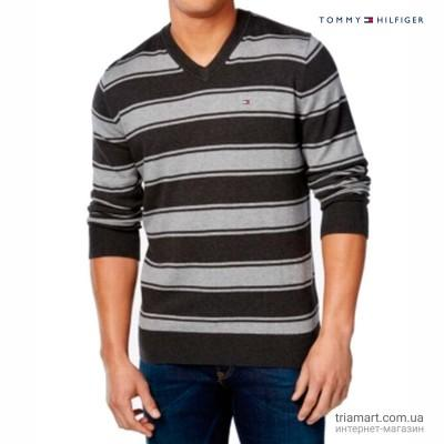 Джемпер Tommy Hilfiger Striped V-Neck серый